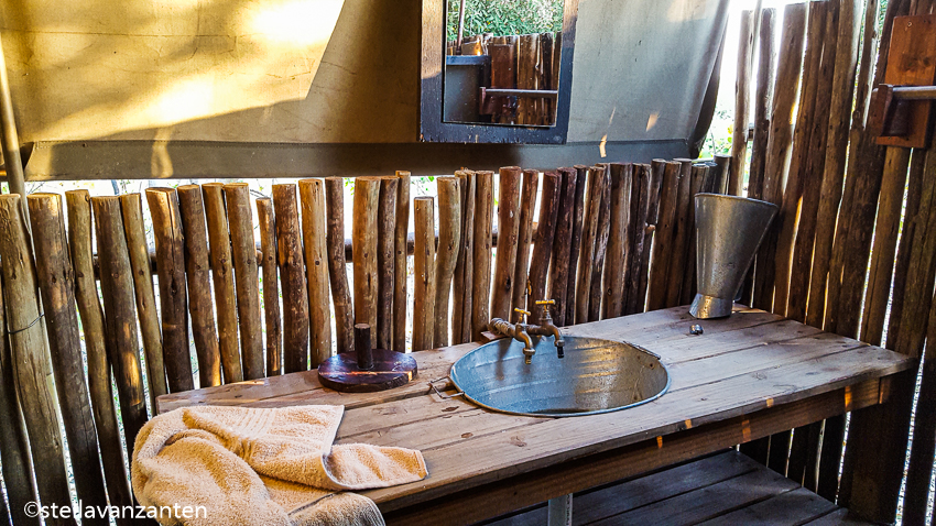 Washroom in our tented camp in the Okavango-delta